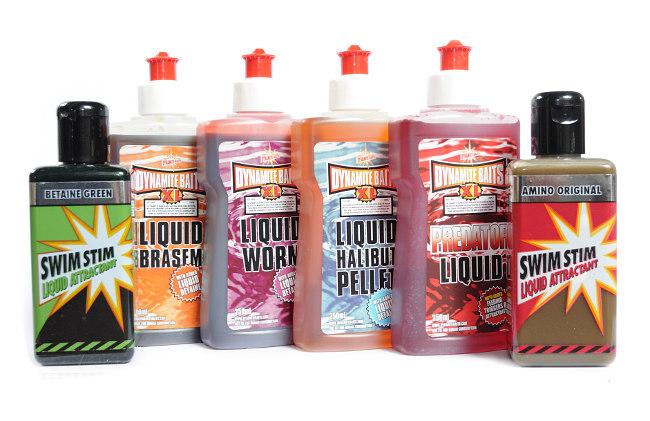 Dynamite Baits hat eine Vielzahl interessanter Liquids im Angebot (hier eine Auswahl), zum pimpen von Grundfutter, Partikeln und Köder aller Art. (Fotos: W. Kalweit)